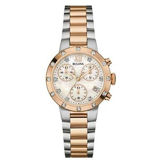 Bulova Ladies' Diamond Set Two Tone Bracelet Watch - Product number 5870291