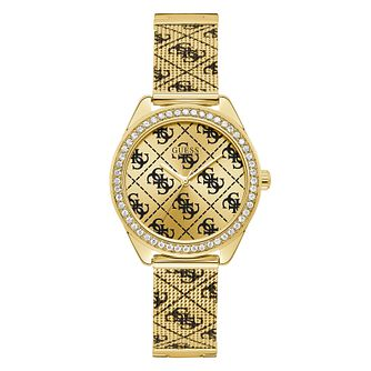 Guess Claudia Ladies' Yellow Gold Tone Logo Bracelet Watch - Product number 5870410