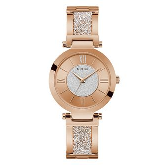 Guess Aurora Ladies' Rose Gold Tone Glitz Bracelet Watch - Product number 5870461