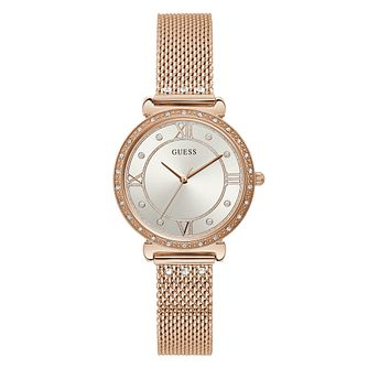 Guess Jewel Ladies' Rose Gold Tone Mesh Bracelet Watch - Product number 5870496