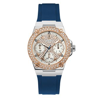 Guess Zena Crystal Ladies' Blue Silicone Strap Watch - Product number 5870526