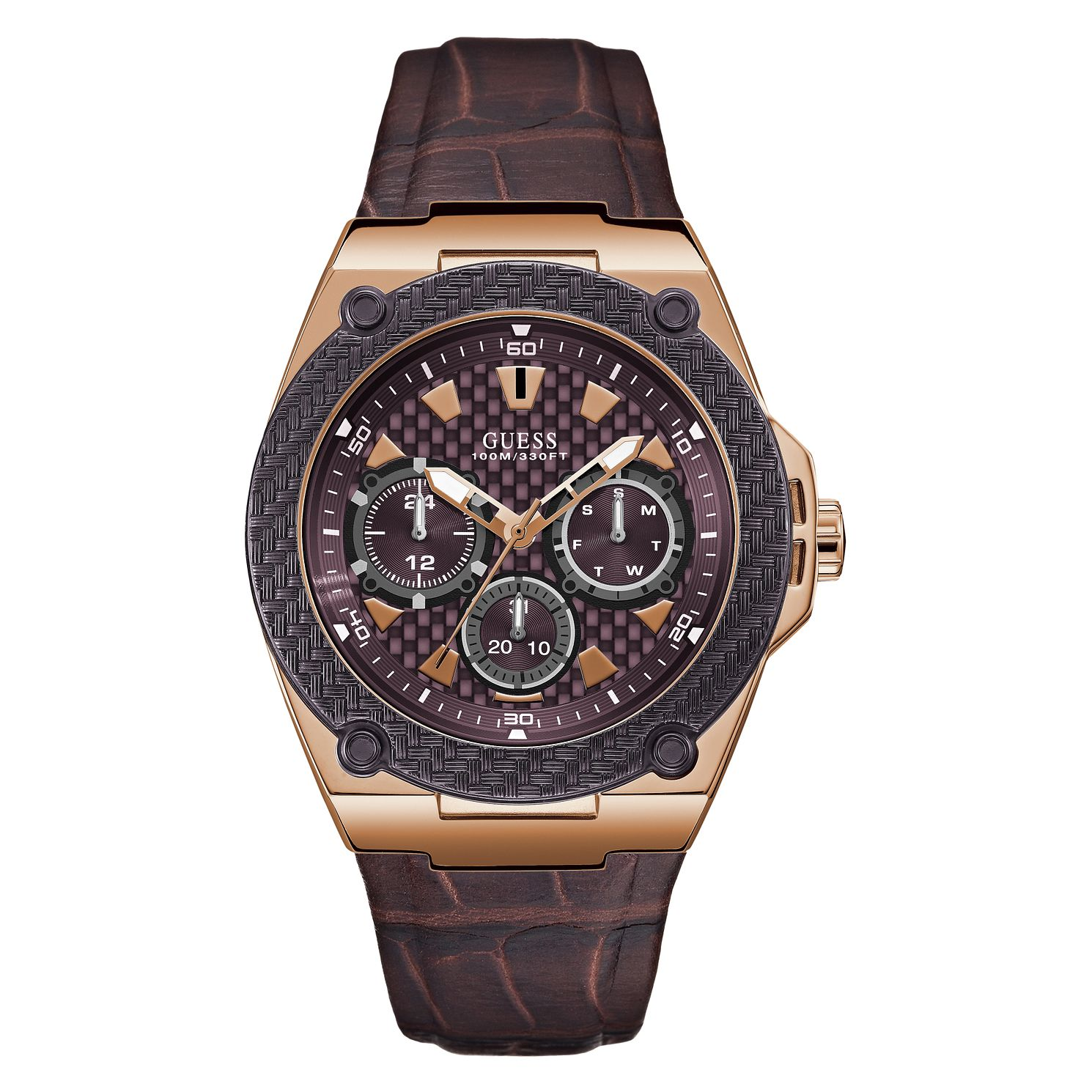 Guess Legacy Men's Brown Leather Strap Watch - Product number 5870569