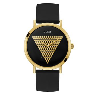 Guess Imprint Men's Black Silicone Strap Watch - Product number 5870585