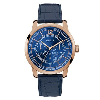 Guess Skyline Men's Blue Leather Strap Watch - Product number 5870623