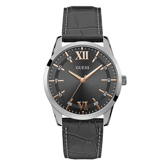 Guess Theo Men's Grey Leather Strap Watch - Product number 5870631