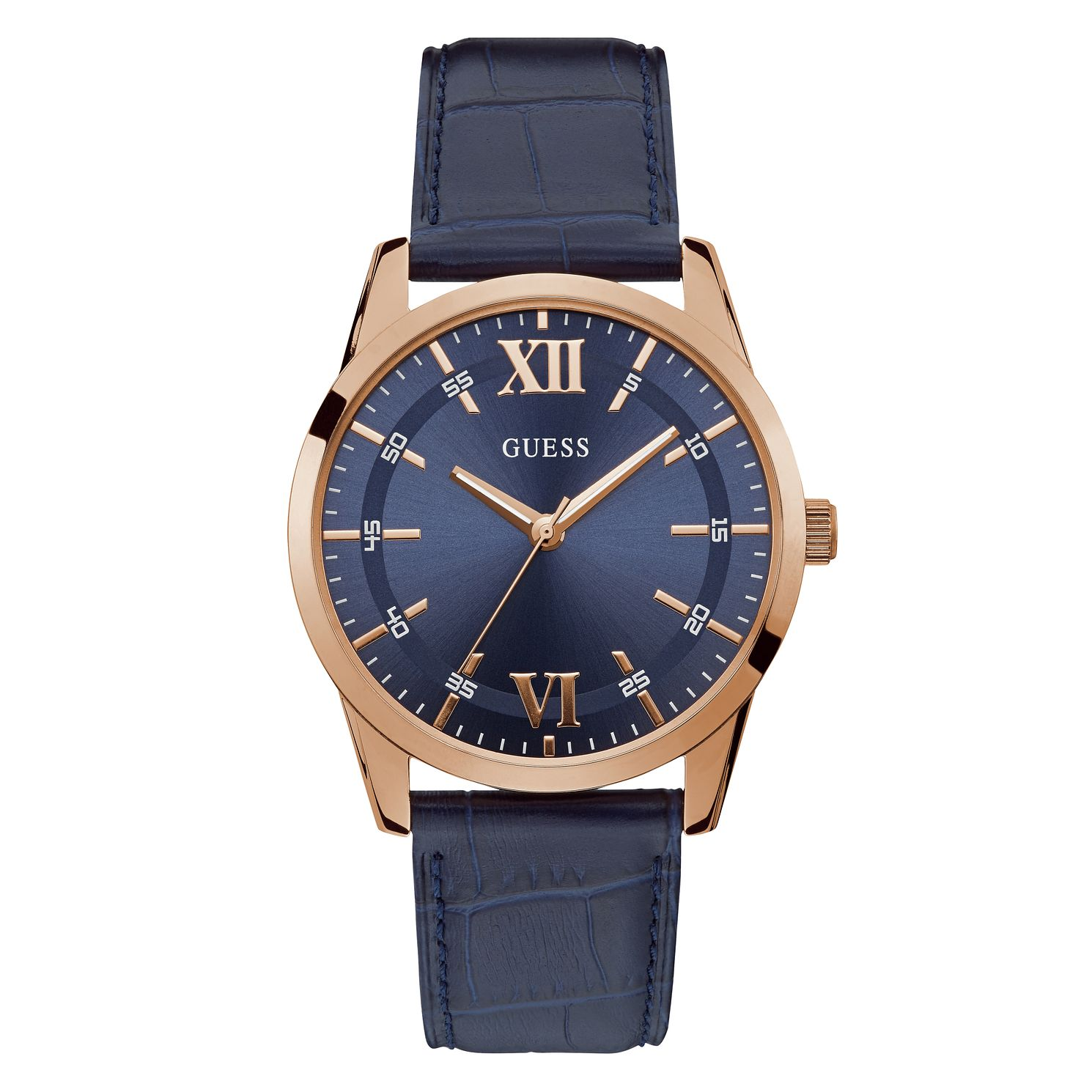 Guess Theo Men's Blue Leather Strap Watch - Product number 5870658