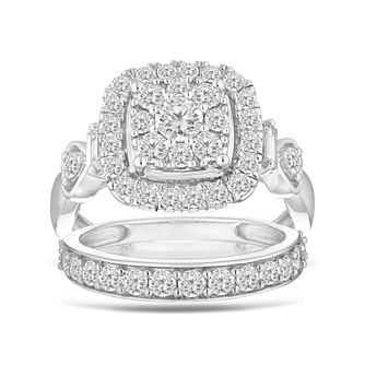 Perfect Fit 9ct White Gold 1.50ct Diamond Bridal Set - Product number 5871328