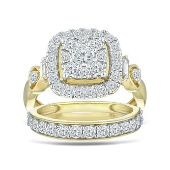 Perfect Fit 9ct Yellow Gold 1.50ct Diamond Bridal Set - Product number 5871476