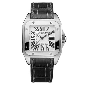 Cartier Santos Ladie's Black Leather Strap Watch - Product number 5872944