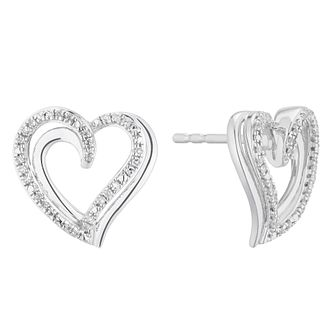Silver 0.10ct Diamond Heart Stud Earrings - Product number 5874173