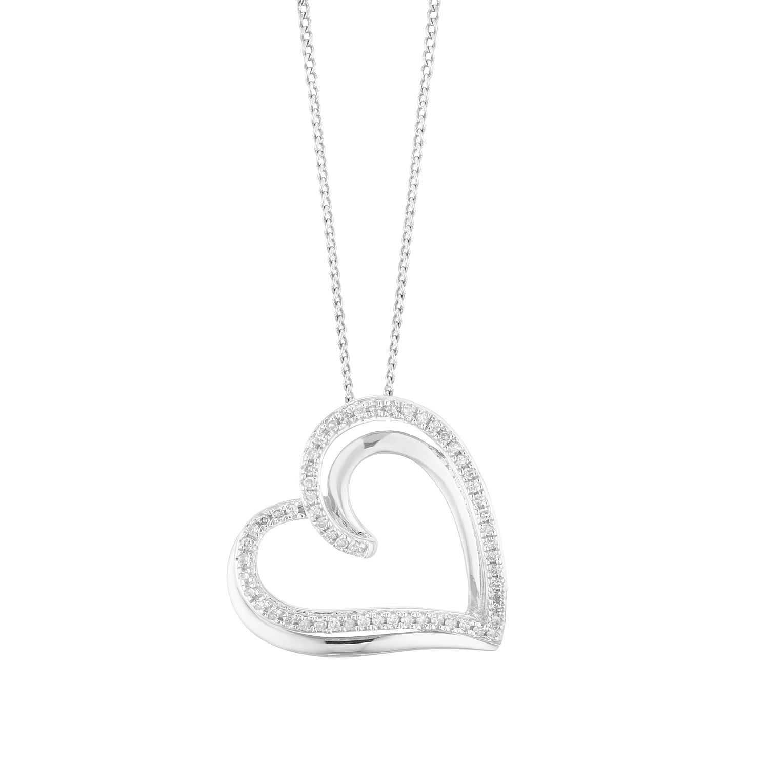 Silver 0.12ct Diamond Heart Pendant - Product number 5874246