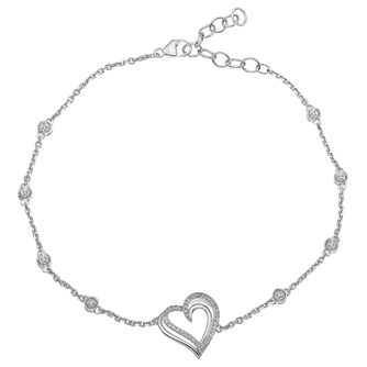 Silver 0.10ct Diamond Heart Bracelet - Product number 5874262