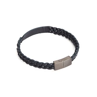 Ted Baker Scars Men's Black Woven Leather ID Bracelet - Product number 5874807