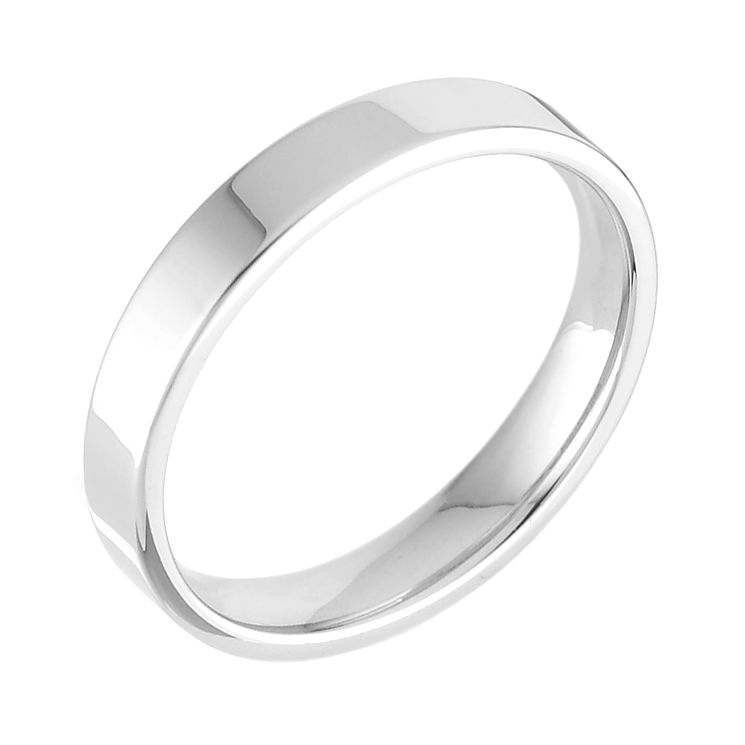 18ct white gold extra heavy flat court 3mm ring Ernest Jones