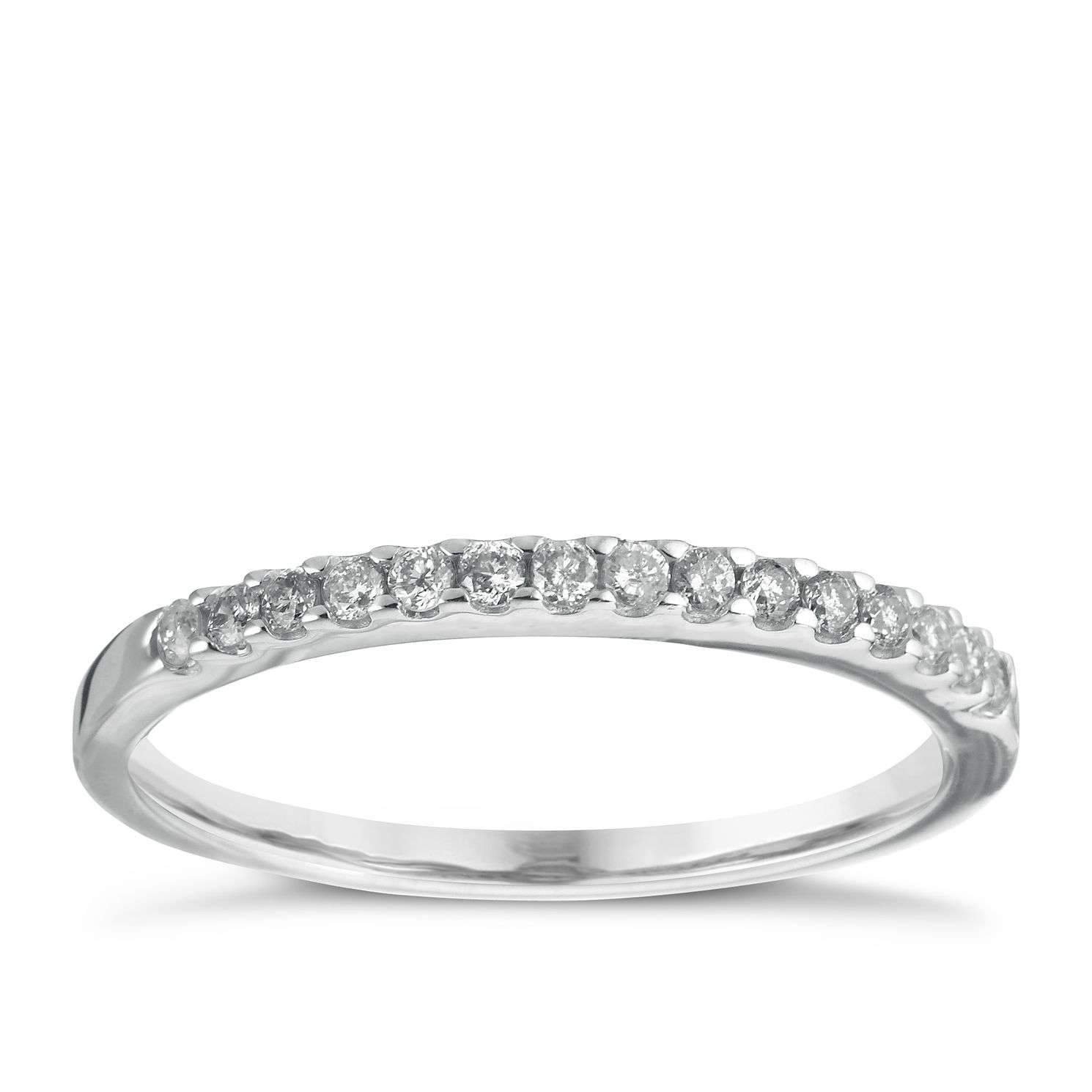 18ct White Gold 0.15ct Wedding Band - Product number 5884136