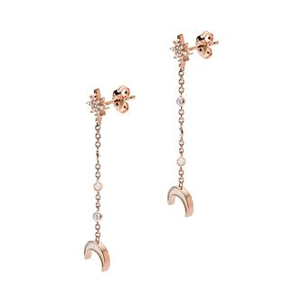 Emporio Armani Rose Gold Tone Long Drop Moon Stud Earrings - Product number 5886007