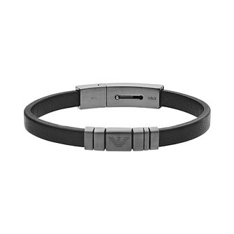 Emporio Armani Gunmetal Stainless Steel Leather Bracelet - Product number 5886384