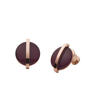 Skagen Sea Glass & Rose Gold Tone Round Stud Earrings - Product number 5886589