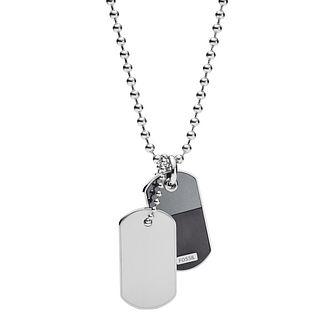 Fossil Men's Stainless Steel Duo Dog Tag Pendant - Product number 5886872