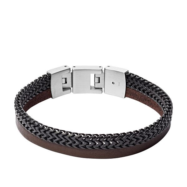Fossil Men's Brown Leather Zig-Zag Bracelet - Product number 5886880