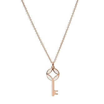 Fossil Mother of Pearl Key Rose Gold Tone Necklace - Product number 5886945