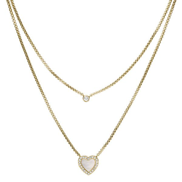 Fossil Gold Tone Crystal Heart Duo Necklace - Product number 5887011