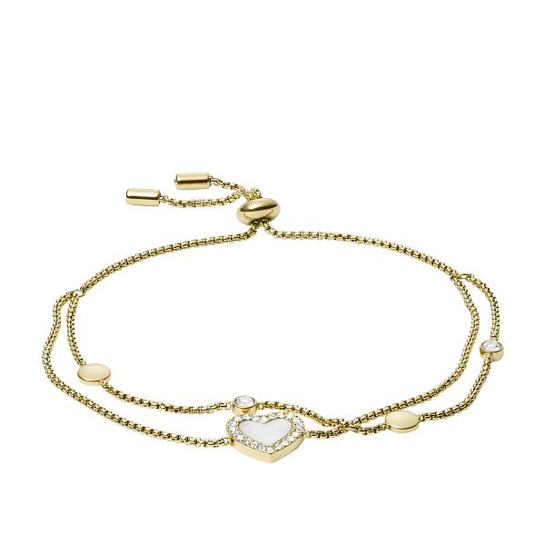 Fossil Gold Tone Crystal Heart Duo Bracelet - Product number 5887119