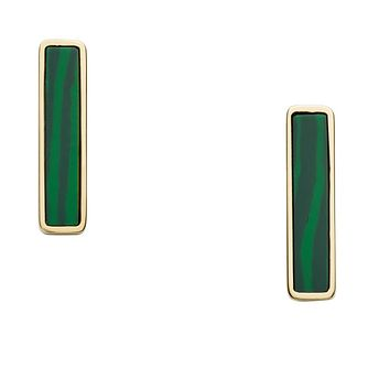 Fossil Gold Tone Green Malachite Bar Stud Earrings - Product number 5887178