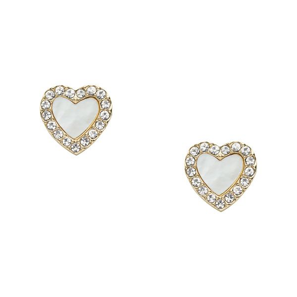 Fossil Gold Tone Crystal Heart Stud Earrings - Product number 5887186
