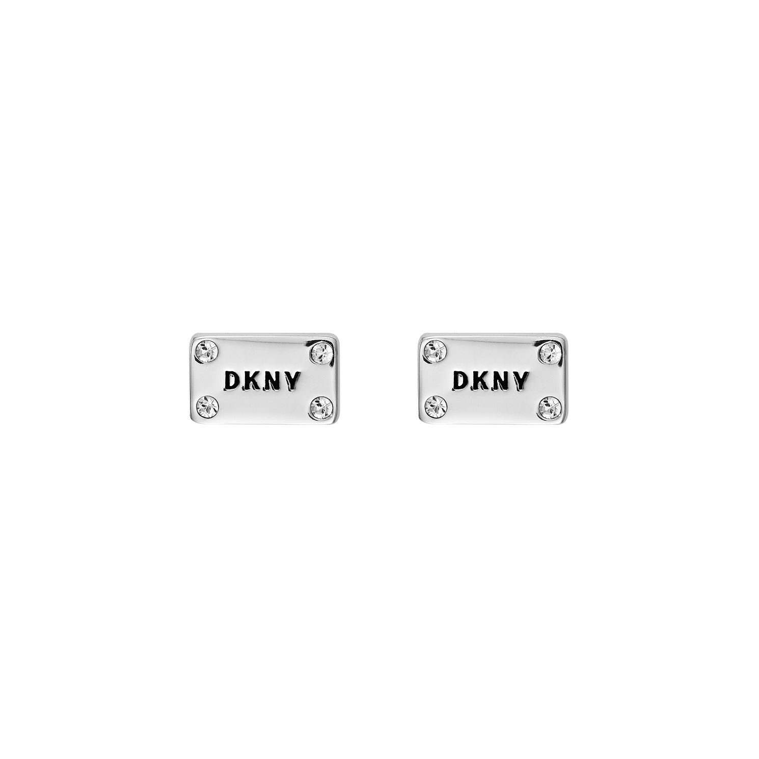 DKNY Logo Plackard Rhodium Plated Crystal Stud Earrings - Product number 5888255