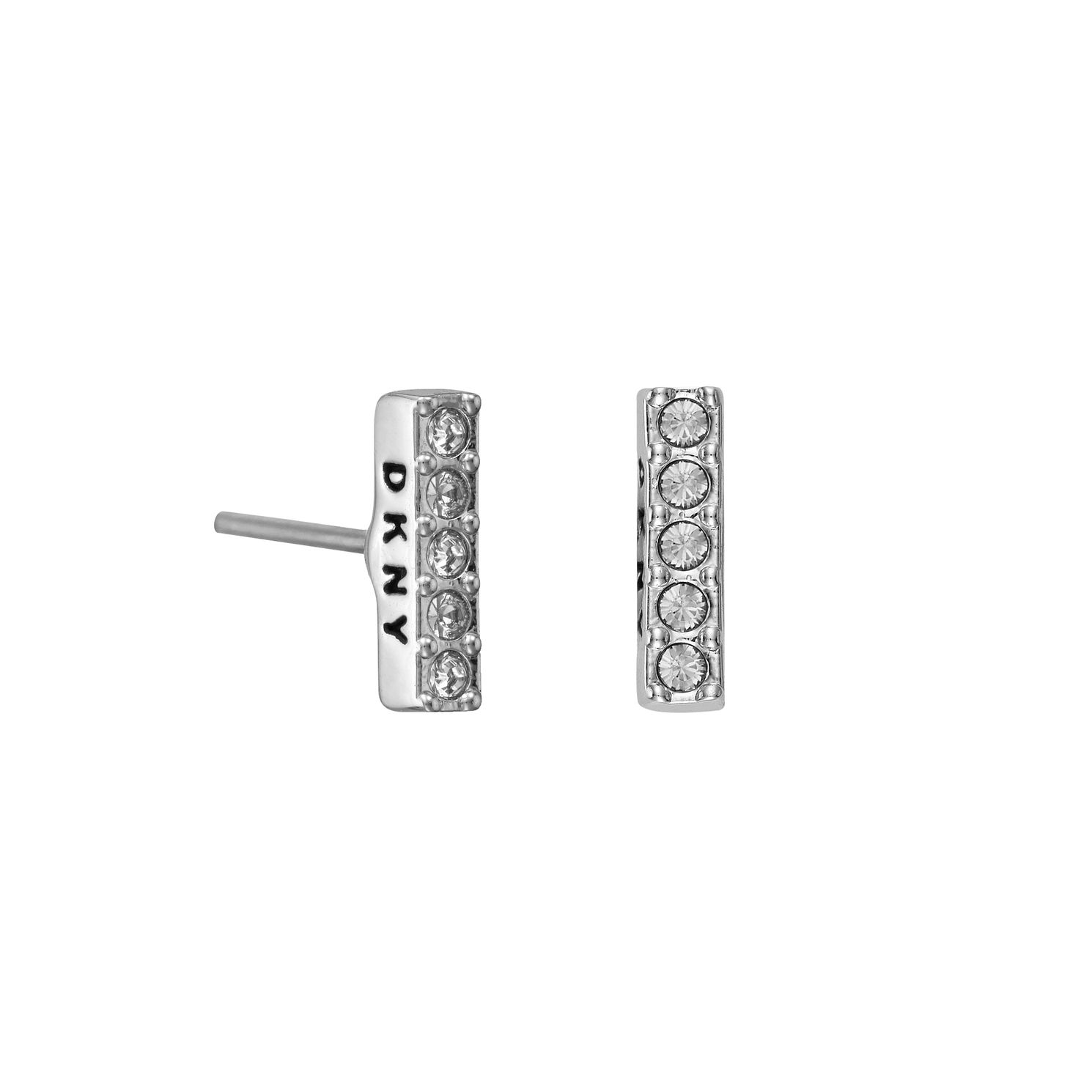 DKNY Thick Pave Bar Rhodium Plated Crystal Stud Earrings - Product number 5888387