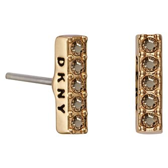 DKNY Thick Pave Bar Rose Gold Plated Crystal Stud Earrings - Product number 5888409