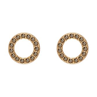 DKNY Thick Pave Circle Yellow Gold Plated Stud Earrings - Product number 5888425