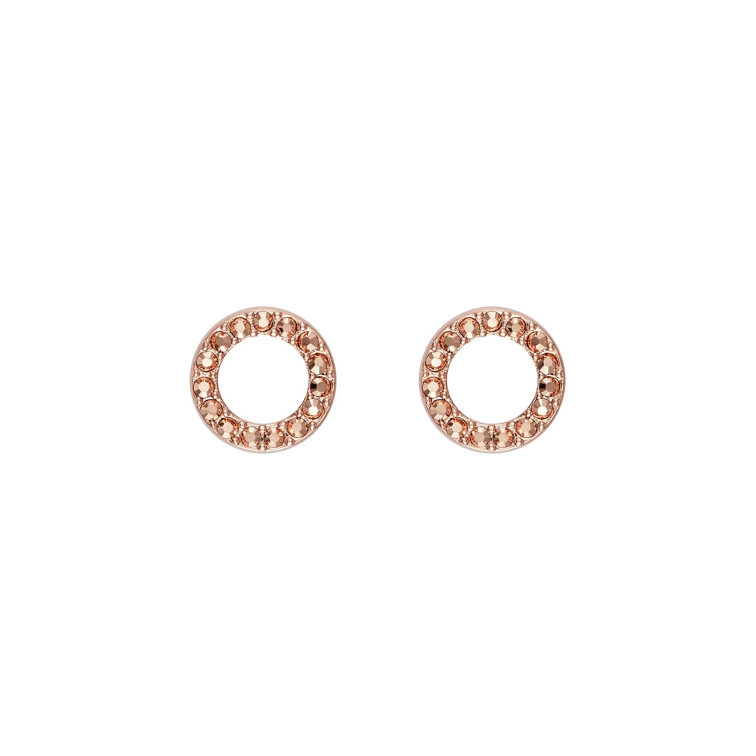 DKNY Thick Pave Circle Rose Gold Plated Stud Earrings - Product number 5888433