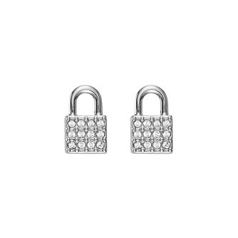 DKNY Padlock Rhodium Plated Crystal Stud Earrings - Product number 5888441
