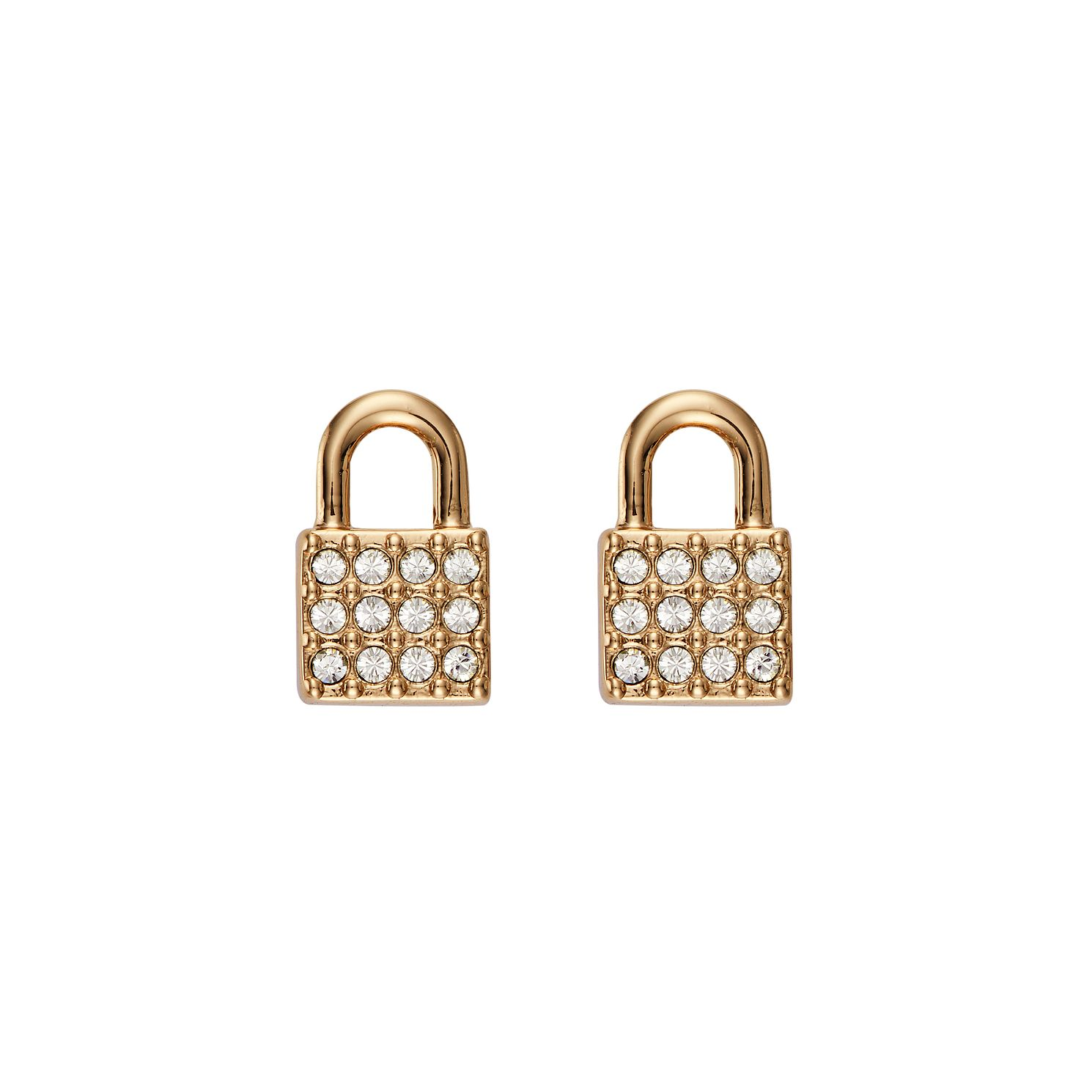 DKNY Padlock Yellow Gold Plated Crystal Stud Earrings - Product number 5888468