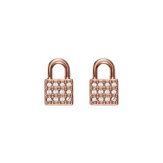 DKNY Padlock Rose Gold Plated Crystal Stud Earrings - Product number 5888476