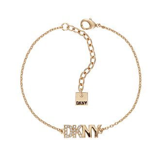 DKNY Pave Logo Yellow Gold Plated Swarovski Crystal Bracelet - Product number 5888530