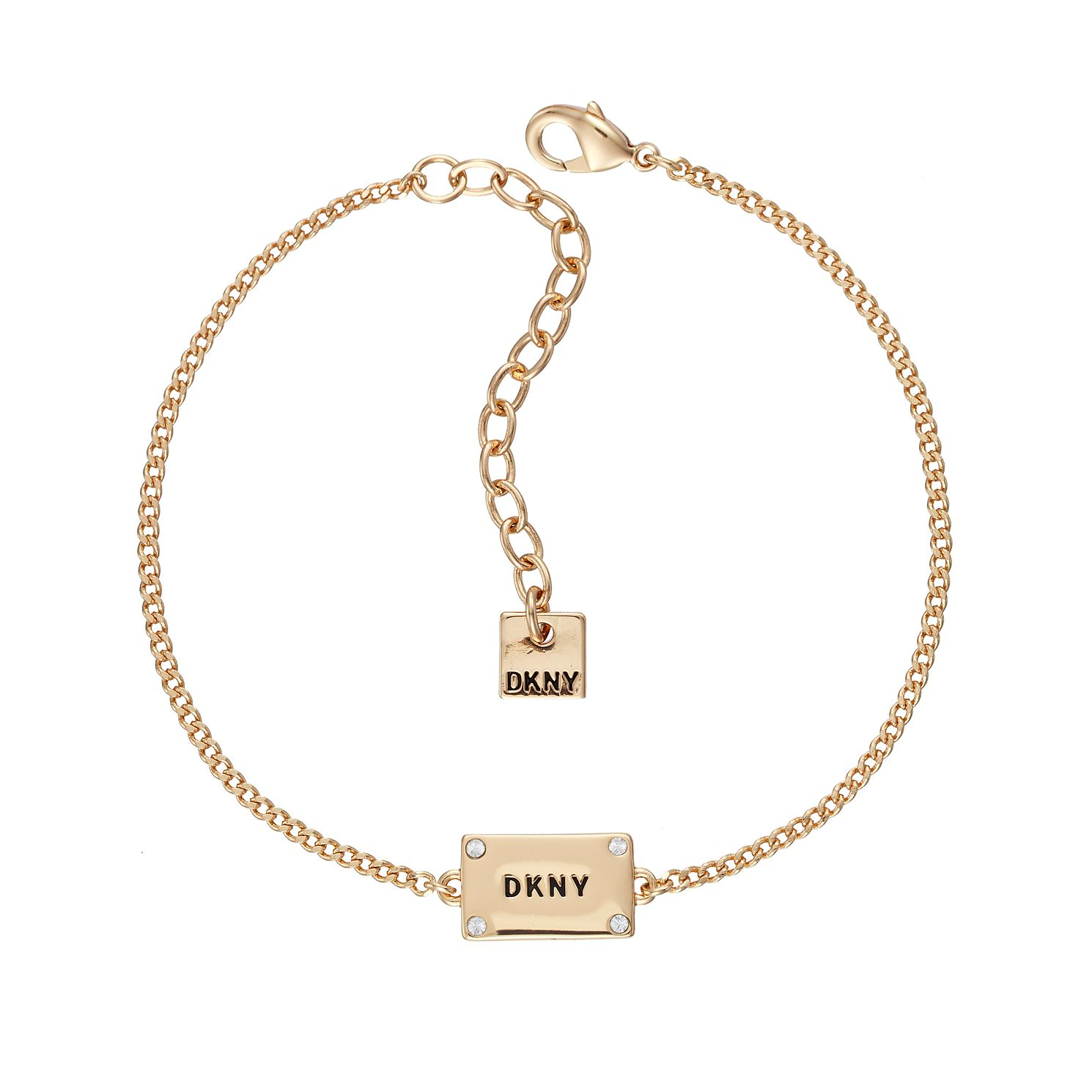 DKNY Logo Plackard Yellow Gold Plated Crystal Bracelet - Product number 5888611