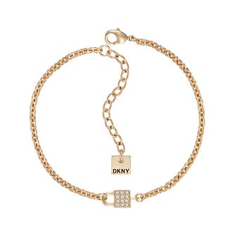 DKNY Small Pave Lock Yellow Gold Plated Bracelet - Product number 5888840