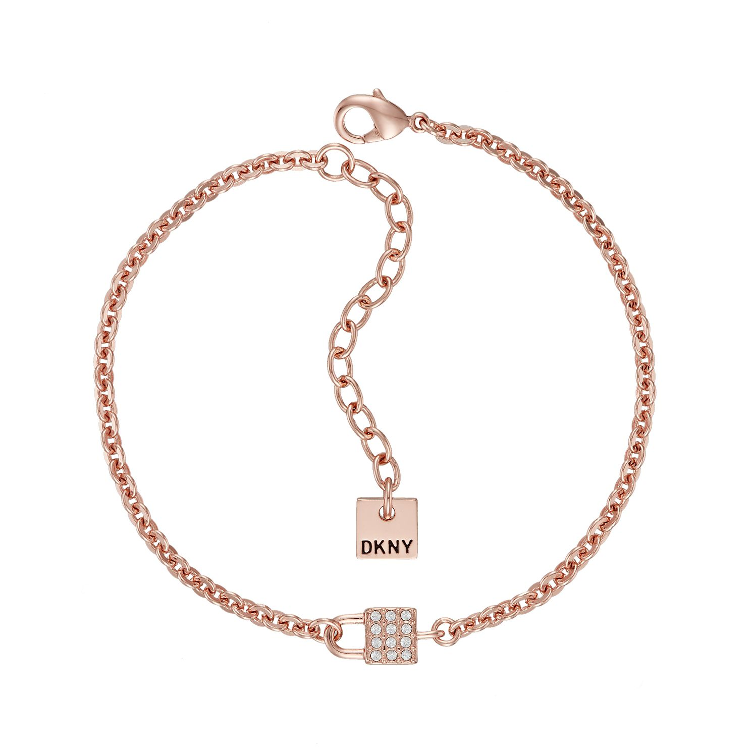 DKNY Small Pave Lock Rose Gold Plated Bracelet - Product number 5888859