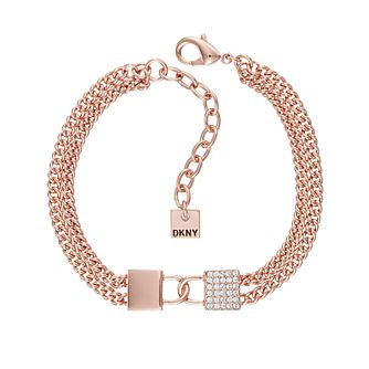 DKNY Double Lock Line Rose Gold Plated Crystal Bracelet - Product number 5888883
