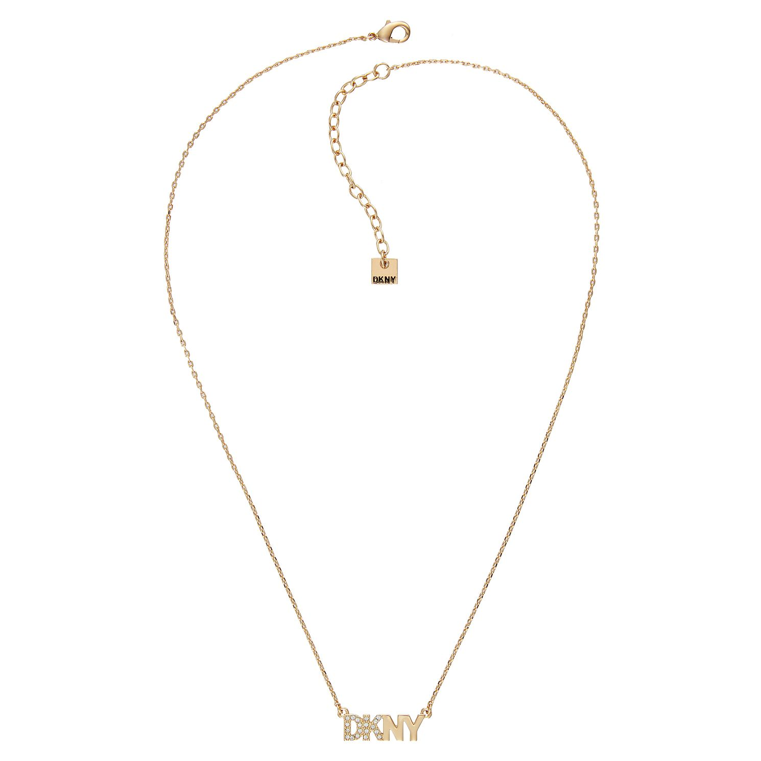 DKNY Pave Logo Yellow Gold Plated Swarovski Crystal Necklace - Product number 5888913