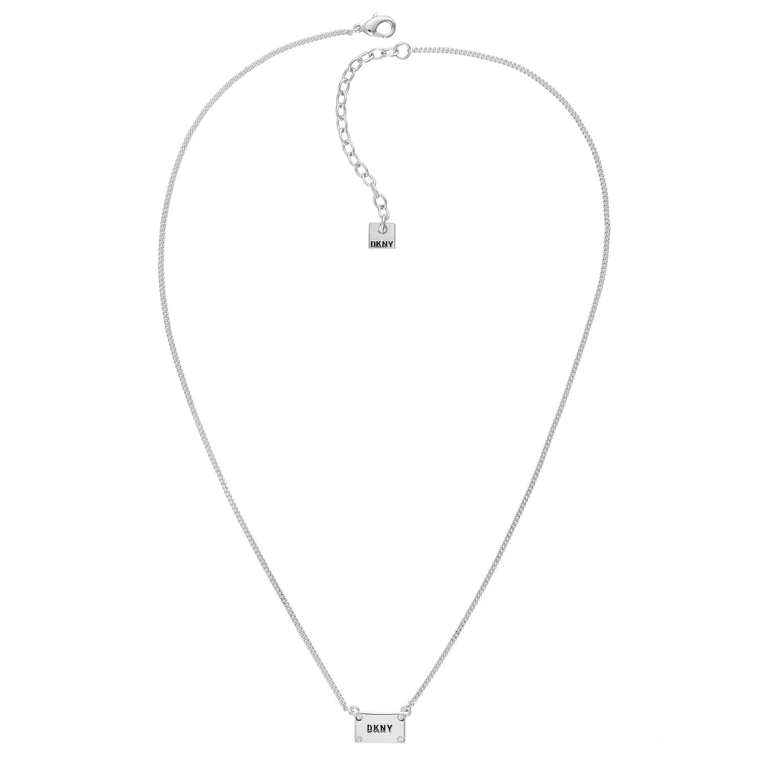 DKNY Logo Plackard Rhodium Plated Crystal Necklace - Product number 5888948