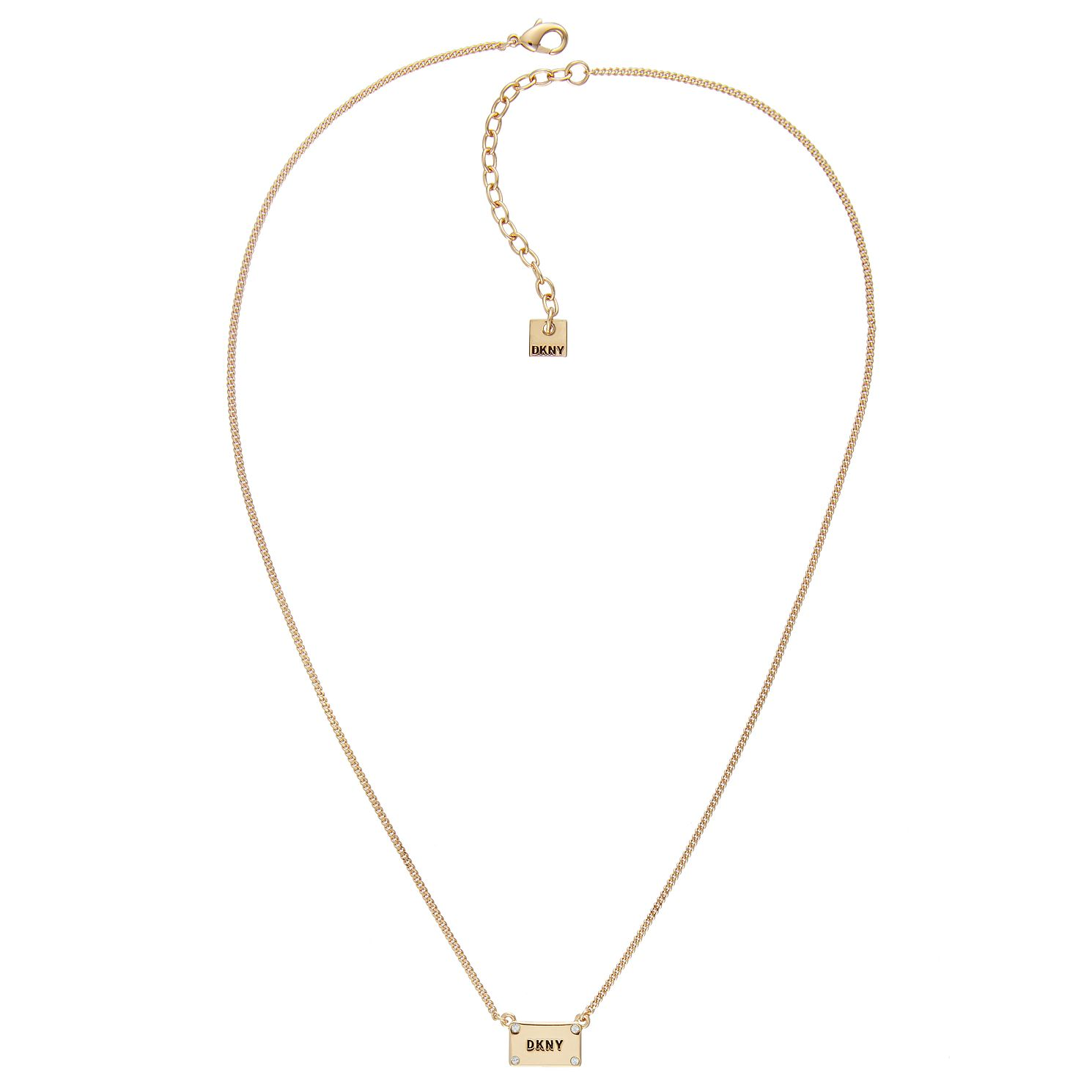 DKNY Logo Plackard Yellow Gold Plated Crystal Necklace - Product number 5888956