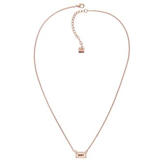 DKNY Logo Plackard Rose Gold Plated Crystal Necklace - Product number 5888964
