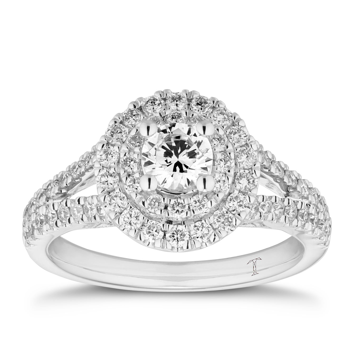 Tolkowsky 18ct White Gold 1ct Diamond Double Round Halo Ring - Product number 5889138
