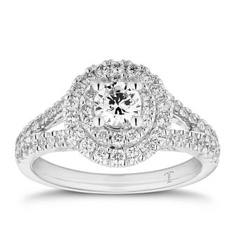 Tolkowsky 18ct White Gold 1ct Total Diamond Double Halo Ring - Product number 5889138