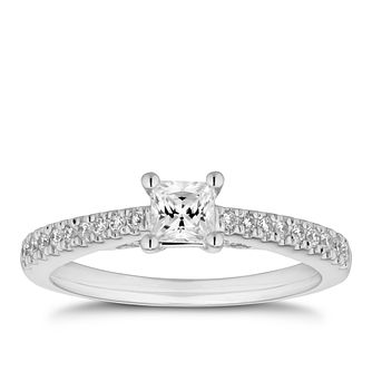 Tolkowsky 18ct White Gold 1/2ct Diamond Princess Cut Ring - Product number 5889251
