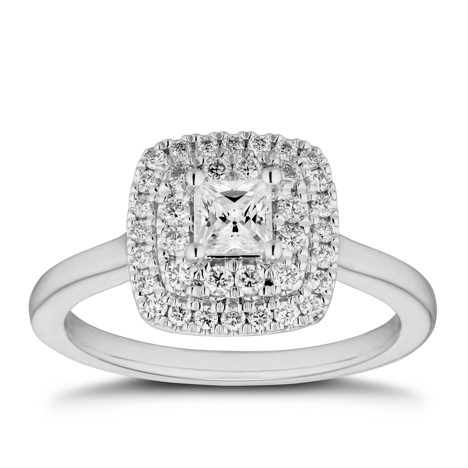 Tolkowsky 18ct White Gold 0.66ct Diamond Double Halo Ring - Product number 5890063